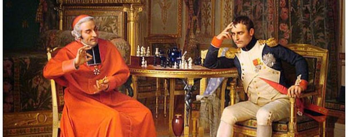 Jehan-Georges Vibert (1840-1902) : Napoléon et le cardinal Fesch jouant aux échecs - une partie qui s'est peut-être déroulée au château de la Malmaison !