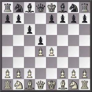 La position de base du Contre-gambit Nicolet, après 1.d4 d5 2.e4 c6!!?!!