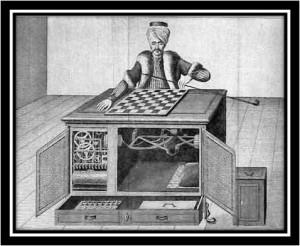 """Le fameux automate """"Le Turc"""" ; on sait aujourd'hui que c'est Charles Nicolet, dissimulé à l'intérieur, qui déplaçait les pièces"""