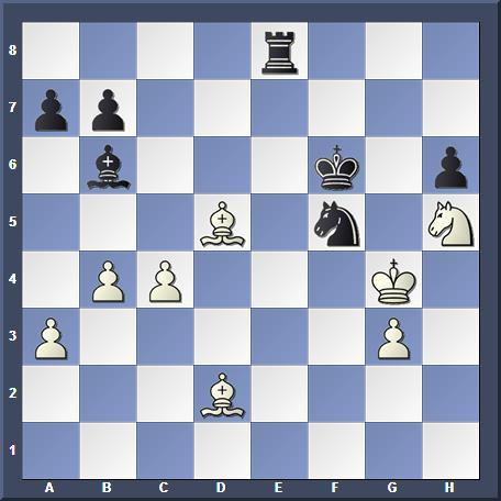 Position après 4.Ch4+ : l'échec perpétuel par 4...Rf5 5.Cf4+ Rg6 6.Ch4+ est inévitable.